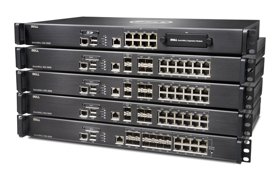 Picture of SonicWall NSA models stacked on top of each other