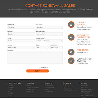Contact Sales at SonicWall - we're ready to help you stop cyber