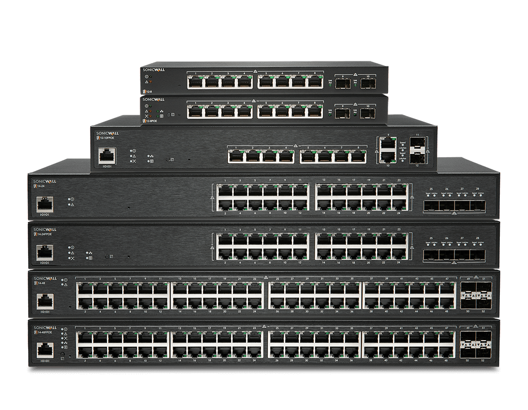 Stack of SonicWall network switches