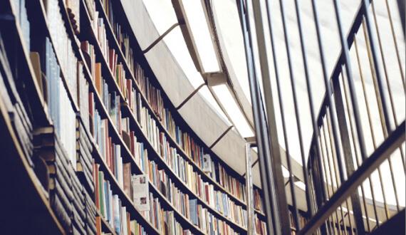 Photo of library bookshelves