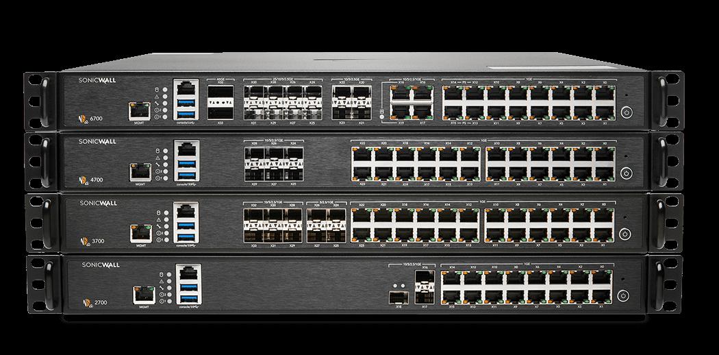 Generation 7 NSa firewalls stacked.