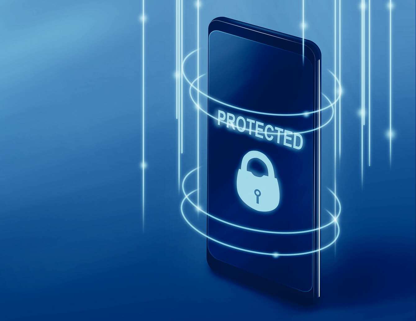 Render of a mobile device with the word PROTECTED on the screen.