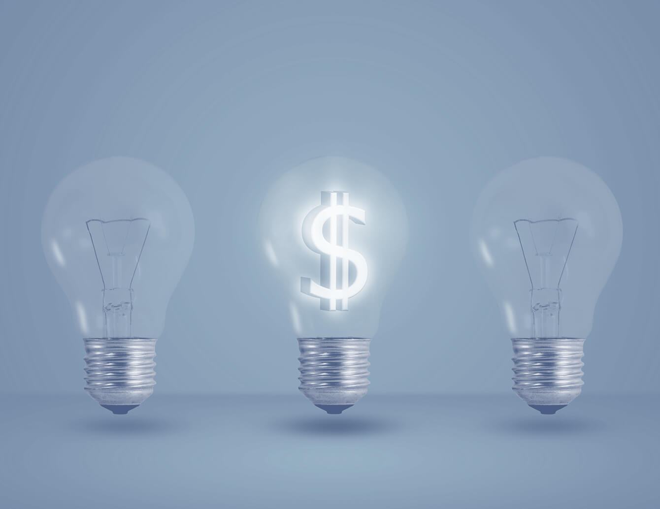 Lightbulb with glowing dollar sign filament.