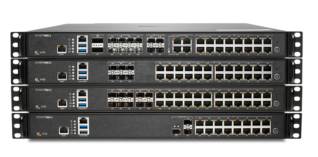 Photo of SonicWall NSa firewalls (stacked).