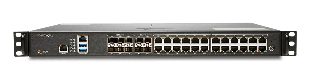 Photo of SonicWall NSa 3700 firewall front.