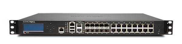 Photo of SonicWall NSa 9650 firewall front.