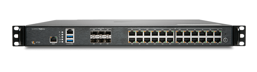 Photo of SonicWall NSa 4700 firewall front.