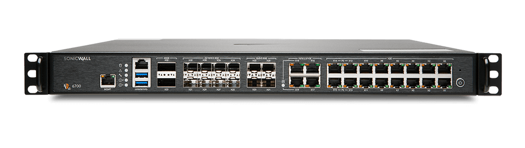 Photo of SonicWall NSa 6700 firewall front.