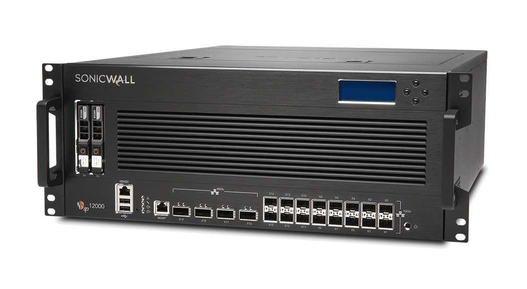 Photo of SonicWall NSsp 12000 front left.