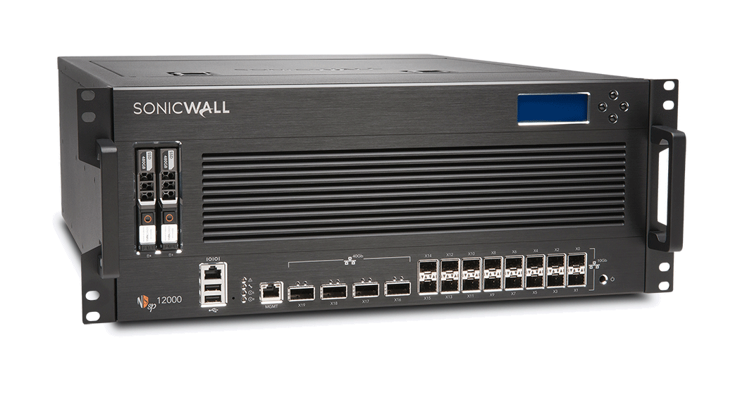 Photo of SonicWall NSsp 12000 front right.